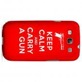 Red Carry A Gun Geeks Designer Line Keep Calm Series Slim Hard Case for Samsung Galaxy S3