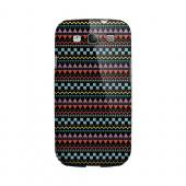 Multi-Shapes & Colors on Black Geeks Designer Line Zig Zag Series Matte Hard Case for Samsung Galaxy S3