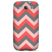 Red on Gray on Pink Geeks Designer Line Zig Zag Series Matte Hard Case for Samsung Galaxy S3