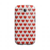 Red Hearts on White Geeks Designer Line Heart Series Matte Hard Case for Samsung Galaxy S3