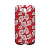 White Hibiscus on Red - Geeks Designer Line Floral Series Matte Case for Samsung Galaxy S3