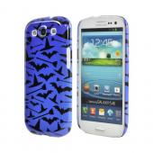 Geeks Designer Line (GDL) Samsung Galaxy S3 Matte Hard Back Cover - Witch Hat/Broom/Bat on Blue