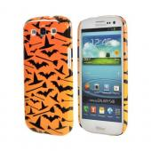 Geeks Designer Line (GDL) Samsung Galaxy S3 Matte Hard Back Cover - Witch Hat/Broom/Bat on Orange