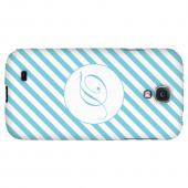 Calligraphy Monogram D on Mint Slanted Stripes - Geeks Designer Line Monogram Series Hard Back Case for Samsung Galaxy S4