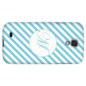 Calligraphy Monogram M on Mint Slanted Stripes - Geeks Designer Line Monogram Series Hard Back Case for Samsung Galaxy S4