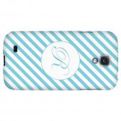 Calligraphy Monogram R on Mint Slanted Stripes - Geeks Designer Line Monogram Series Hard Back Case for Samsung Galaxy S4