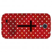 Stained Cross on Red - Geeks Designer Line Polka Dot Series Hard Back Case for Samsung Galaxy S4