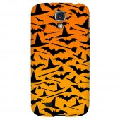 Witch Hat/Broom/Bat on Orange - Geeks Designer Line Monster Mash Series Hard Back Case for Samsung Galaxy S4