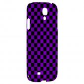 Purple/ Black - Geeks Designer Line Checker Series Hard Back Case for Samsung Galaxy S4