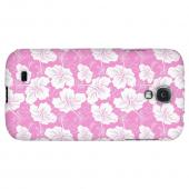 White Hibiscus on Pink - Geeks Designer Line Floral Series Hard Back Case for Samsung Galaxy S4