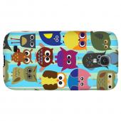 Colorful Owls on Blue/Green Stripes - Geeks Designer Line Owl Series Hard Back Case for Samsung Galaxy S4