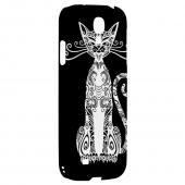 Kitty Nouveau on Black - Geeks Designer Line Tattoo Series Hard Back Case for Samsung Galaxy S4