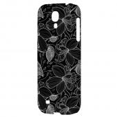 White on Black Orchid Lines - Geeks Designer Line Floral Series Hard Back Case for Samsung Galaxy S4