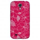 White on Pink Orchid Lines - Geeks Designer Line Floral Series Hard Back Case for Samsung Galaxy S4
