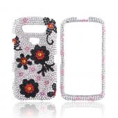 Blackberry Torch 9850 Bling Hard Case - Black Daisies on Silver Gems