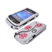 Blackberry Torch 9800 Bling Hard Case - Hot Pink/ Baby Pink Flowers on Silver Gems