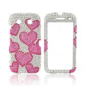 Blackberry Torch 9850 Bling Hard Case - Hot Pink Hearts on Silver Gems