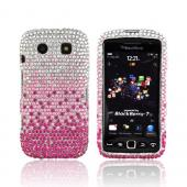 Blackberry Torch 9860, 9850 Bling Hard Case - Magenta/ Baby Pink Waterfall on Silver Gems