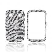 Blackberry Bold 9900, 9930 Bling Hard Case - Black Zebra on Silver Gems
