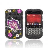 Blackberry Bold 9900, 9930 Bling Hard Case - Pink/ Purple Butterfly on Black Gems