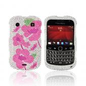 Blackberry Bold 9900, 9930 Bling Hard Case - Pink Begonia Flowers on Silver Gems
