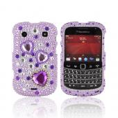 Blackberry Bold 9900, 9930 Bling Hard Case - Purple Hearts on Purple/ Clear Gems