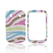 Blackberry Bold 9900, 9930 Bling Hard Case - Rainbow Zebra on Silver Gems