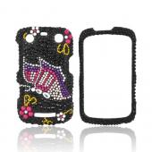 Blackberry Curve 9360 Bling Hard Case - Pink/ Purple Butterfly on Black Gems