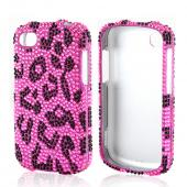 Black Leopard on Pink Bling Hard Case for Blackberry Q10