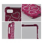 Silver Hearts on Hot Pink Gems Bling Hard Case for Blackberry Z10
