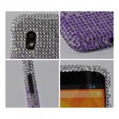 Purple/ Lavender Waterfall on Silver Gems Bling Hard Case for Google Nexus 4