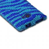 Blue/ Turquoise Zebra Bling Hard Case for HTC 8X