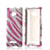 Bling Hard Case Hot Pink/ Silver Zebra for HTC 8X