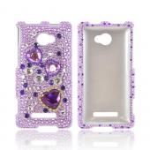 HTC 8X Bling Hard Case - Purple Hearts on Light Purple/ Silver Gems