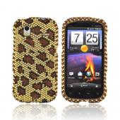 HTC Amaze 4G Bling Hard Case - Brown Leopard on Gold Gems