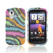 HTC Amaze 4G Bling Hard Case - Rainbow Zebra
