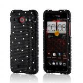 Black w/ Silver Gems Bling Hard Case for HTC Droid DNA