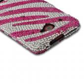 Hot Pink/ Silver Zebra Bling Hard Case for HTC Droid DNA