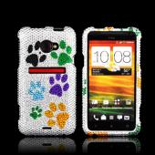 HTC EVO 4G LTE Bling Hard Case - Colorful Paw Prints on Silver Gems