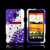 HTC EVO 4G LTE Bling Hard Case - Purple/ Silver Hearts & Gems