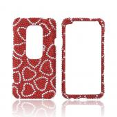 HTC EVO 3D Bling Hard Case - Silver Hearts on Red Gems