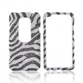 HTC EVO 3D Bling Hard Case - Black Zebra on Silver Gems
