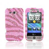 HTC FreeStyle Bling Hard Case - Hot Pink Zebra