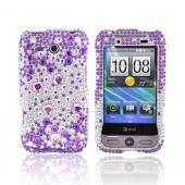 HTC FreeStyle Bling Hard Case - Purple/Silver Rhinestones