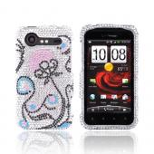 HTC Droid Incredible 2 Bling Hard Case w/ Crowbar - Pink Flower w/ Black & Turquoise Swirls on Silver Gems
