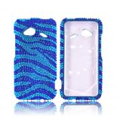 HTC Droid Incredible 4G LTE Bling Hard Case - Blue/ Turquoise Zebra
