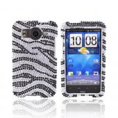 HTC Inspire 4G Bling Hard Case - Black/Silver Zebra