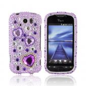 HTC Mytouch 4G Slide Bling Hard Case - Purple Hearts on Light Purple / Silver Gems