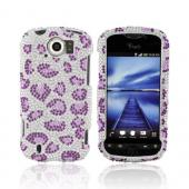 HTC Mytouch 4G Slide Bling Hard Case - Purple Leopard on Silver Gems