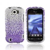 HTC Mytouch 4G Slide Bling Hard Case - Purple/ Lavender Waterfall on Silver Gems